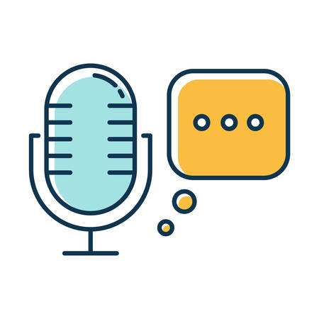 Blue voice recorder color icon. Speech recognition idea. Modern microphone, stereo mic. Voice command, interactive technology. Sound reproduction, modern equipment. Isolated vector illustration