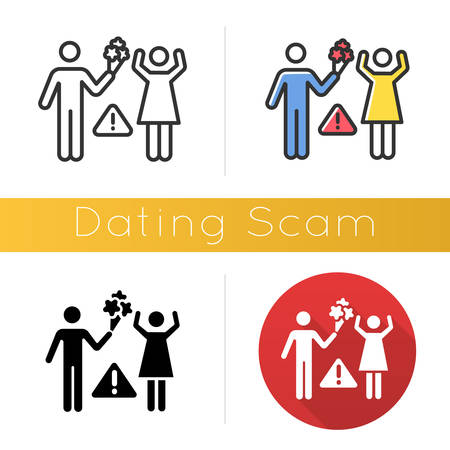 Dating scam icon. Online romance fraud. Fake dating service. False romantic intentions, promises. Money request. Confidence trick. Flat design, linear and color styles. Isolated vector illustrations
