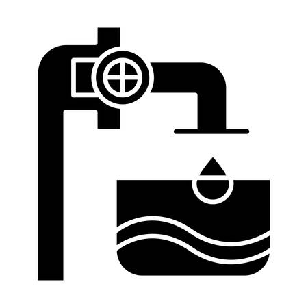Water industry glyph icon. Blue clear liquid in container. Pipes and valves. Water engineering. Beverage production services. Silhouette symbol. Negative space. Vector isolated illustration