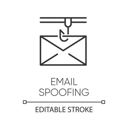 Email spoofing linear icon. Illegitimate business. Forged sender. Spamming. Fake email header. Mail phishing. Thin line illustration. Contour symbol. Vector isolated outline drawing. Editable stroke Standard-Bild - 134836875
