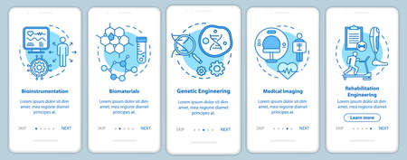 Bioengineering onboarding mobile app page screen with linear concepts. Medical imaging. Five walkthrough steps graphic instructions. Bioinstrumentation. UX, UI, GUI vector template with illustrations 向量圖像