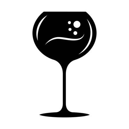 Wineglass glyph icon. Chardonnay wine glass. Alcohol beverage with bubbles. Party cocktail. Sweet aperitif drink. Tableware, glassware. Silhouette symbol. Negative space. Vector isolated illustration
