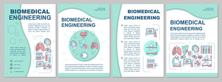 Biomedical engineering brochure template. Flyer, booklet, leaflet print, cover design with linear illustrations. Innovative technologies. Vector page layouts for annual reports, advertising posters Vector Illustration