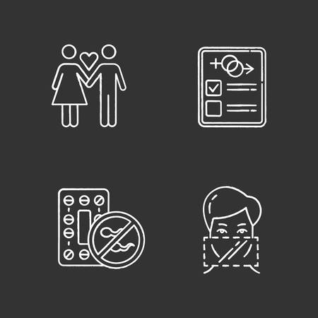 Safe sex chalk icons set. Only one partner. Monogamy. Man and woman in love. Girlfriend and boyfriend. Sex test, check. Oral contraceptive pills. Dental dams. Isolated vector chalkboard illustrations Ilustração