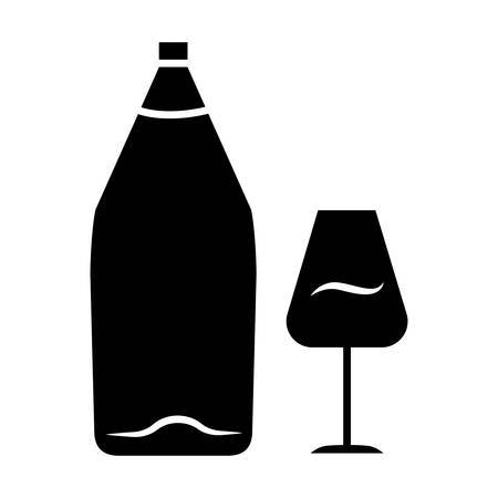 Wine glyph icon. Alcohol bar. Bottle and wineglass. Alcoholic beverage. Restaurant service. Glassware for dessert port wine. Silhouette symbol. Negative space. Vector isolated illustration