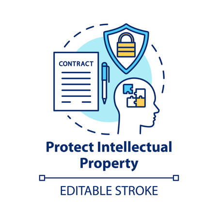 Protect intellectual property concept icon. Copyright legislation. Trade secret safety. Intellectual cooperation agreement idea thin line illustration. Vector isolated outline drawing. Editable stroke