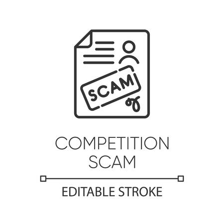 Competition scam linear icon. Money deposit fraud. Fake prize scamming. Upfront payment. Financial scamming. Thin line illustration. Contour symbol. Vector isolated outline drawing. Editable stroke