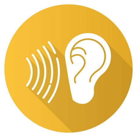 Yellow sound signal flat design long shadow glyph icon. Audible soundwave idea. Listening ear. Loud noise perception. Voice call, sound susceptibility. Hearing ability. Vector silhouette illustration