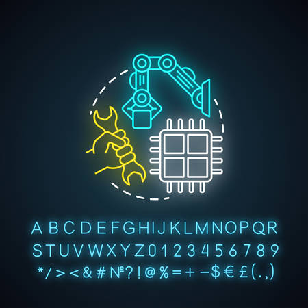Industrial robotics neon light concept icon. Building technology idea. Types of robots, classification. Computer machine constructing. Glowing sign with alphabet,. Vector isolated illustration Imagens - 134836926