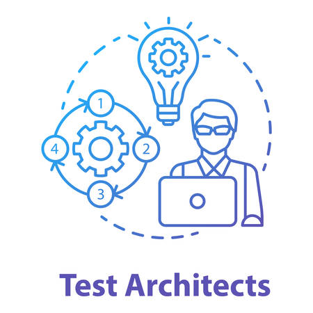 Test architects concept icon. Software development idea thin line illustration. App programming professional. IT project managment. Senior testing professional. Vector isolated outline drawing