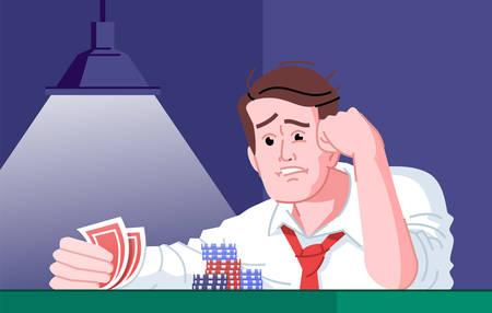Illustration vectorielle plane de dépendance au jeu. Dépendance au divertissement du casino. Échec des joueurs, jour de malchance. Joueur de poker obsédé frustré par la perte d'un personnage de dessin animé de jeu de cartes