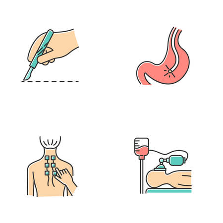 Medical procedures color icons set. Surgery. Endoscopy and gastroscopy. Digestive tract, stomach check. Physiotherapy. Back pain relief. Anesthesia. Clinical aid. Isolated vector illustrations Illustration