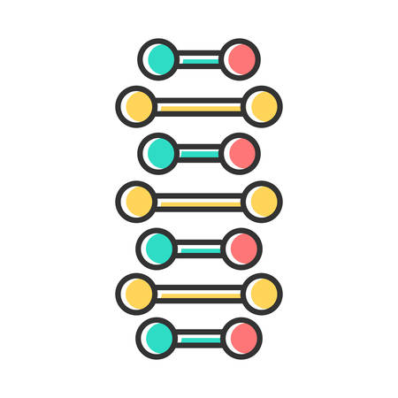 DNA spiral chains color icon. Connected dots, lines. Deoxyribonucleic, nucleic acid helix. Spiral strands. Chromosome. Molecular biology. Genetic code. Genetics. Isolated vector illustration