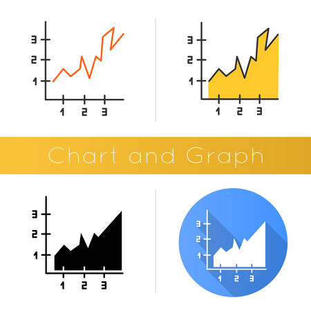 Area chart icon. Rising graph with indexes. Increasing diagram. Infographic. Business report. Marketing research presentation. Flat design, linear and color styles. Isolated vector illustrations