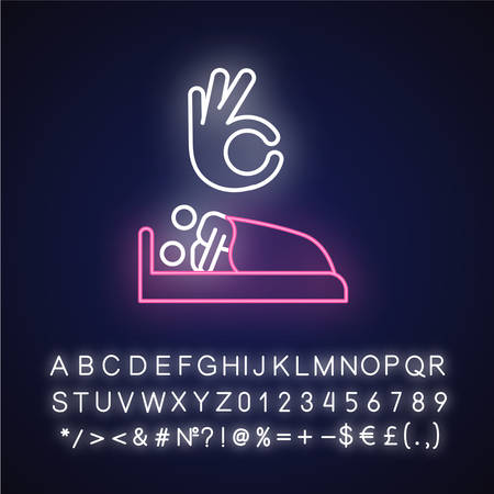 Sexual consent neon light icon. Intimate relationship with partner. Couple in bed. Safe sex with mutual argreement. Glowing sign with alphabet, numbers and symbols. Vector isolated illustration