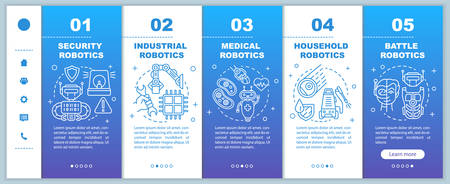 Types robotics onboarding mobile web pages vector template. Cybernetics. Responsive smartphone website interface idea with linear illustrations. Webpage walkthrough step screens. Color concept