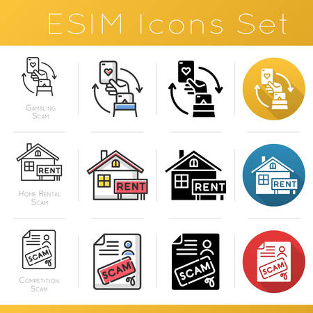 Scam types icons set. Gambling, home rental fraudulent scheme. Competition fraud. Cybercrime. Financial scamming. Flat design, linear, black and color styles. Isolated vector illustrations Ilustrace