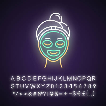 Vitamin C mask neon light icon. Skin care procedure. Facial beauty treatment. Dermatology, cosmetics, makeup. Glowing sign with alphabet, numbers and symbols. Vector isolated illustration