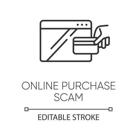 Online purchase scam linear icon. Internet shopping scheme. Fake retailer website. Phishing. Consumer fraud. Thin line illustration. Contour symbol. Vector isolated outline drawing. Editable stroke