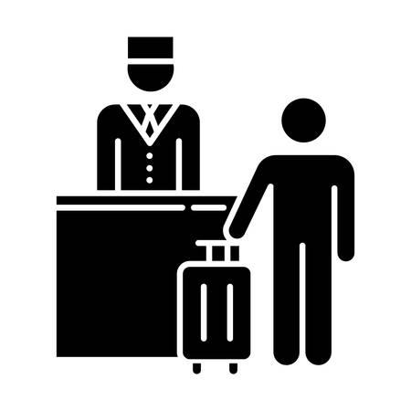 Icono de glifo de la industria hotelera. Turista con maleta. Conserje. Servicios de gestión hotelera. Mostrador de reservas. Negocio turístico. Símbolo de silueta. Espacio negativo. Vector ilustración aislada