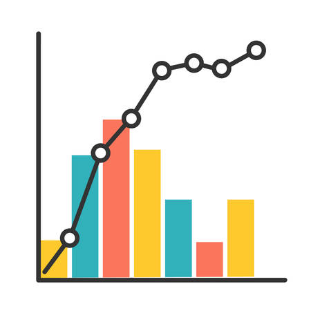 Pareto curve color icon. Information chart and graph. 80-20 rule visualization. Social wealth distribution presentation. Business diagram. Financial correlation. Isolated vector illustration Vektorové ilustrace