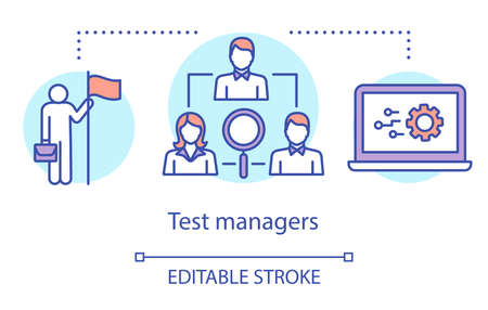 Test managers concept icon. Control and supervision idea thin line illustration. Software testing process. Indicating issues and problems. Vector isolated outline drawing. Editable strokee