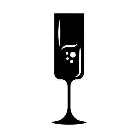 Wine glass glyph icon. Fort wineglass. Champagne. Alcohol beverage with bubbles. Party cocktail. Aperitif drink. Tableware, glassware. Silhouette symbol. Negative space. Vector isolated illustration