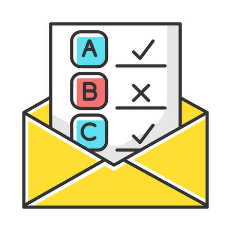 Email survey color icon. Public opinion. Research. Consumer review. Customer satisfaction. Feedback. Evaluation. Data collection. Sociology. Isolated vector illustration  イラスト・ベクター素材