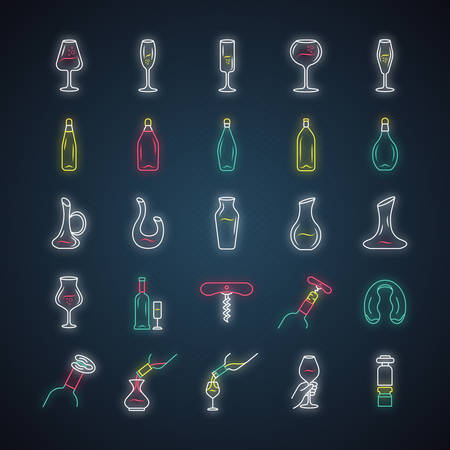 Wine and wineglasses neon light icons set. Different types of bar glassware and alcohol beverages. Decanters, bottles, barman tools. Glowing signs. Vector isolated illustrations