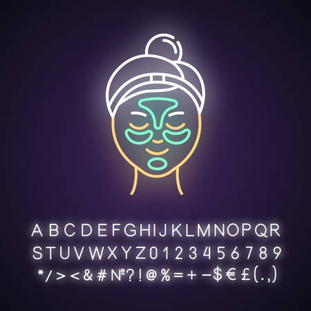 Applying hydrogel patches neon light icon. Skin care procedure. Blackheads removal. Gel mask. Dermatology, cosmetics. Glowing sign with alphabet, numbers and symbols. Vector isolated illustration
