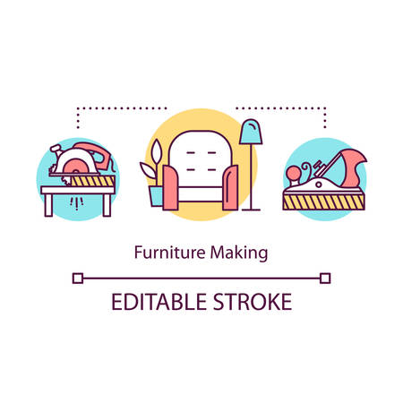 Furniture making concept icon. Local production idea thin line illustration. Designer furniture for apartment. Modern carpentry process. Vector isolated outline drawing. Editable stroke