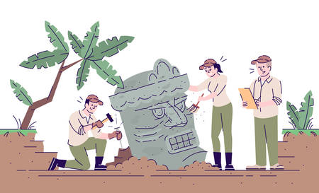 Ancient culture archeological study flat vector illustration. Old civilization analyze. Archaeologists researching sculpture isolated cartoon characters with outline elements on white background Vektoros illusztráció