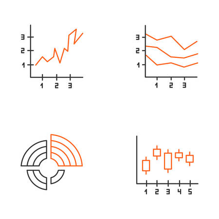 Chart and graph linear icons set. Radial diagram with increasing values. Area charts. Vertical scatter histogram. Thin line contour symbols. Isolated vector outline illustrations. Editable stroke