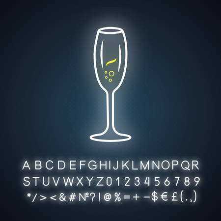Sparkling wine neon light icon. Tulip wineglass. Champagne. Alcohol beverage. Party cocktail. Sweet aperitif drink. Glowing sign with alphabet, numbers and symbols. Vector isolated illustration 向量圖像