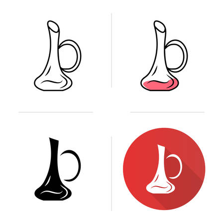 Decanter icons set. Aperitif drink. Party, holiday, celebration. Bar, restaurant, winery. Glassware, tableware. Flat design, linear, black and color styles. Isolated vector illustrations Ilustração