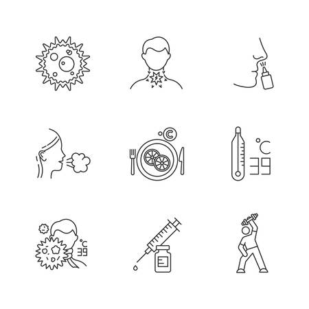 Common cold linear icons set. Virus infection. Sore throat. Drip nose, cough. Vitamin C. Fever. Syringe. Exercise. Thin line contour symbols. Isolated vector outline illustrations. Editable stroke
