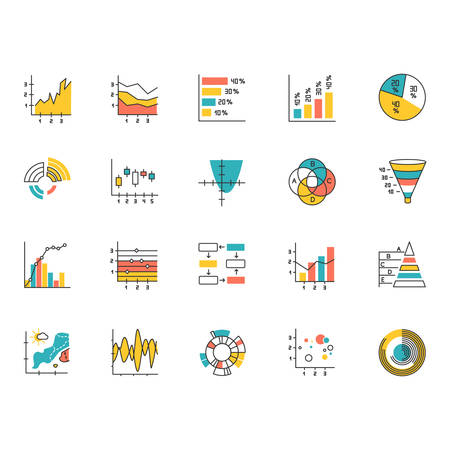 Chart and graph color icons set. Pie diagram. Horizontal and vertical histogram. Area chart. Venn diagram. Pareto curve. Temperature map. Polar watch. Scatter chart. Isolated vector illustrations Vektorové ilustrace