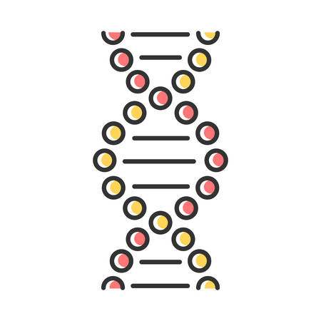 DNA spiral color icon. Connected dots, lines. Deoxyribonucleic, nucleic acid helix. Spiraling strands. Chromosome. Molecular biology. Genetic code. Genetics. Isolated vector illustration