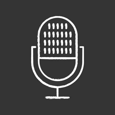 Modern voice recorder chalk icon. Microphone idea. Sound recording equipment. Portable mic, music mike. Speech recognition process. Professional musical tool. Isolated vector chalkboard illustration Standard-Bild - 134811882