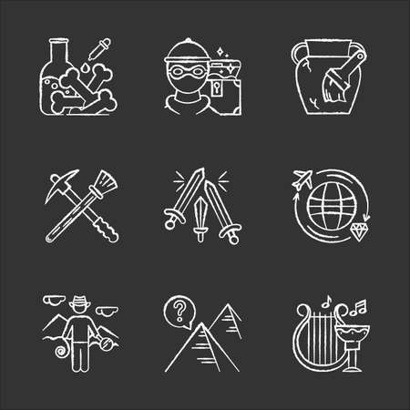 Archeology chalk icons set. Lab research. Marauding. Artifact restoration equipment. Sword fight. Treasure hunt. Researcher. Pyramid mystery. Ancient culture. Isolated vector chalkboard illustrations Vettoriali