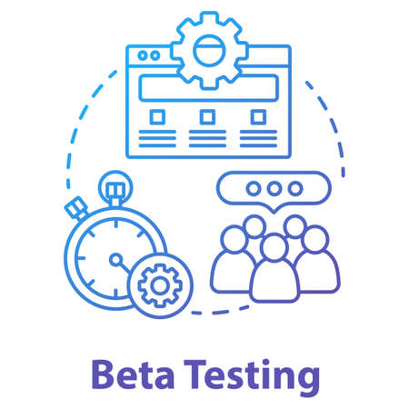 Beta testing concept icon. Software development stage idea thin line illustration. Application perfomance verification. IT project managment. App coding. Vector isolated outline drawing