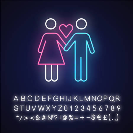 Only one partner neon light icon. Girlfriend and boyfriend. Woman and man in love. Safe sex. Partner, lover. Monogamy. Glowing sign with alphabet, numbers and symbols. Vector isolated illustration Imagens - 134837209