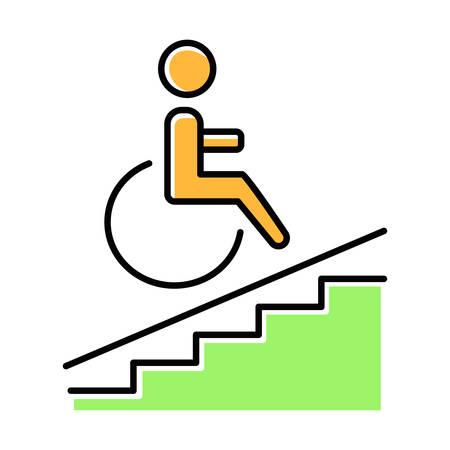 Icona di colore verde di accesso per sedia a rotelle. Accessibile ai portatori di handicap. Strutture per disabili. Segnale di rampa per sedia a rotelle. Servizi dell'appartamento. Barriere architettoniche. Illustrazione vettoriale isolato Vettoriali