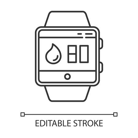 Water balance tracking smartwatch function linear icon. Thin line illustration. Hydration remindings and measurements. Water resistant. Contour symbol. Vector isolated outline drawing. Editable stroke