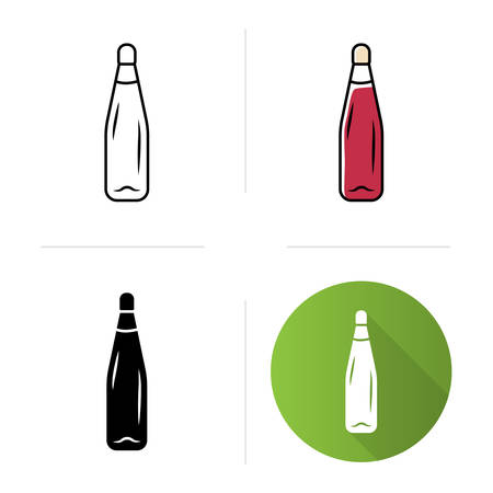 Alcohol beverage bottle with cork icons set. Party sweet aperitif drink. Bar, restaurant, winery tableware. Flat design, linear, black and color styles. Isolated vector illustrations