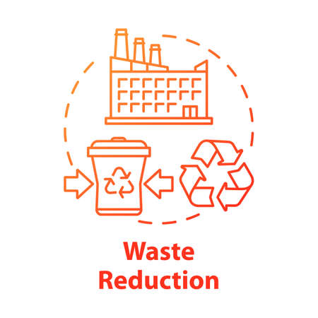 Waste reduction concept icon. Garbage recycling. Municipal debris collection service. Trash recycling plant idea thin line illustration. Vector isolated outline drawing