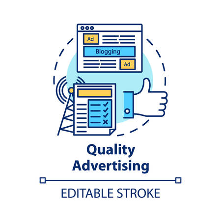 Quality advertising concept icon. Commercial promotion. Successful propaganda. Advertisement marketing. Giving publicity idea thin line illustration. Vector isolated outline drawing. Editable stroke