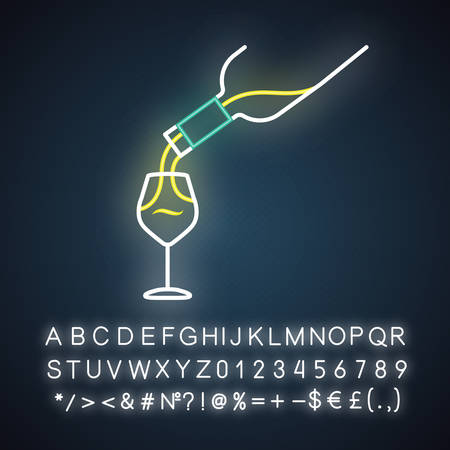 Wine service neon light icon. Alcohol beverage pouring in glass. Aperitif drink bottle. Barman, sommelier. Glowing sign with alphabet, numbers and symbols. Vector isolated illustration