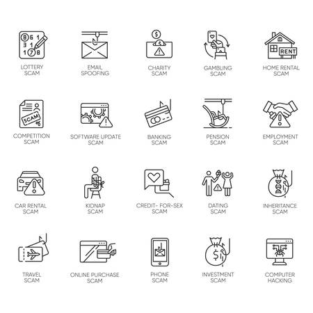 Scam types linear icons set. Malware. Investment, rental schemes. Phishing tricks. Cybercrime. Financial fraud. Thin line contour symbols. Isolated vector outline illustrations. Editable stroke