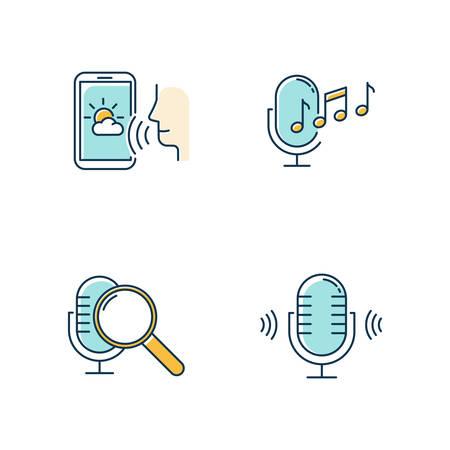 Conjunto de iconos de colores de solicitud de sonido azul. Idea del sistema de control por voz. Tecnología de reconocimiento de voz. Aplicaciones controladas por voz. Micrófonos, altavoces. Micrófonos de música, aplicación de pronóstico. Ilustraciones vectoriales aisladas